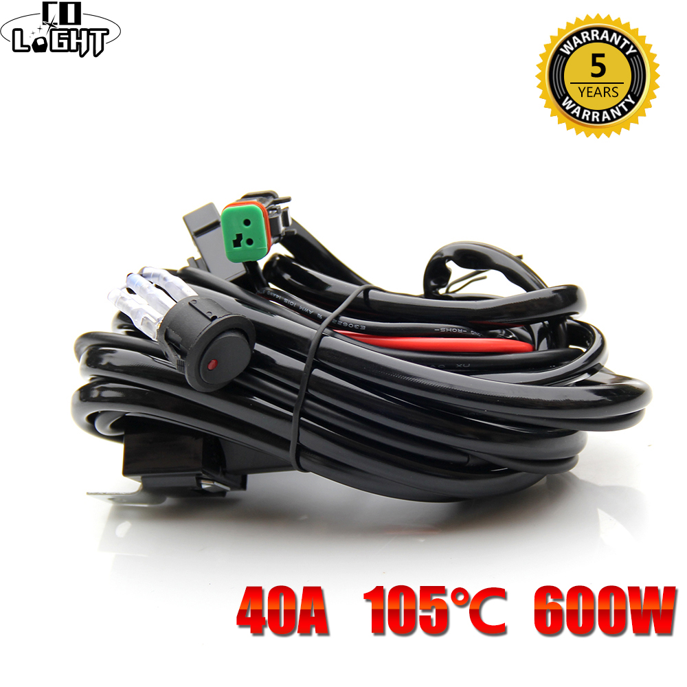CO LIGHT Light Bar Wiring Harness Wire Cable Relay 3 Meter for UAZ ATV off road 4x4 22 32 42 50 52 Inch LED Light Bar Work Light