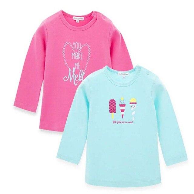 2016 новое поступление красивый подарок для ребенка девушка 100% хлопка футболки гарантированное качество мультфильм печать 80 - 110 см девушка одежда