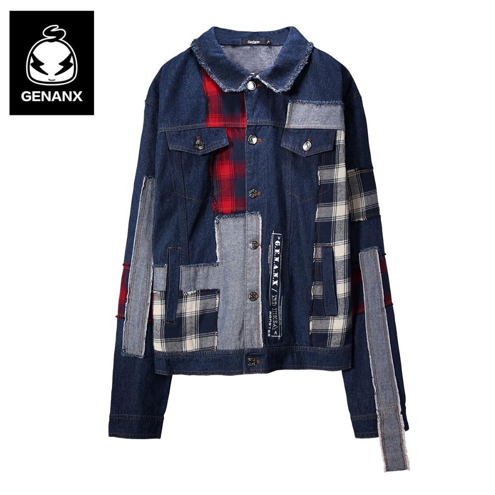 Genanx Brand hip hop streetwear jeans jacket men jackets and coats jean jacket 2018 men korean style jacket for men