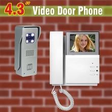 4.3 inch LCD Screen Video Door Phone Intercom System Aluminum Alloy Camera Video Doorbell Intercom Video Door bell 1V1