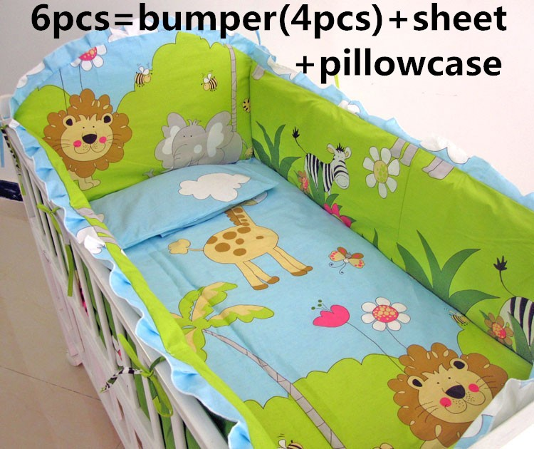 Promotion! 6PCS Bed Linen Baby Bedding Set 100% Cotton Green Crib Bedding Set ,include:(bumper+sheet+pillow cover)