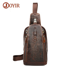 Joyir genuine leather men shoulder bag leisure fashion chest bag pack casual Crocodile pattern chest bag men messenger bags 1313