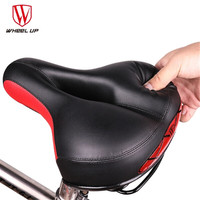 WHEEL UP Reflective Bike Saddle Quilted Wide Commuter Bicycle Seat Shock Resistant MTB Road Bike Saddle
