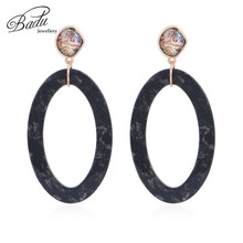 Badu Oversize Geometric Acrylic Earring Women Exaggerated Jewelry Oval Shape Dangle Drop Earrings Party Dropshipping