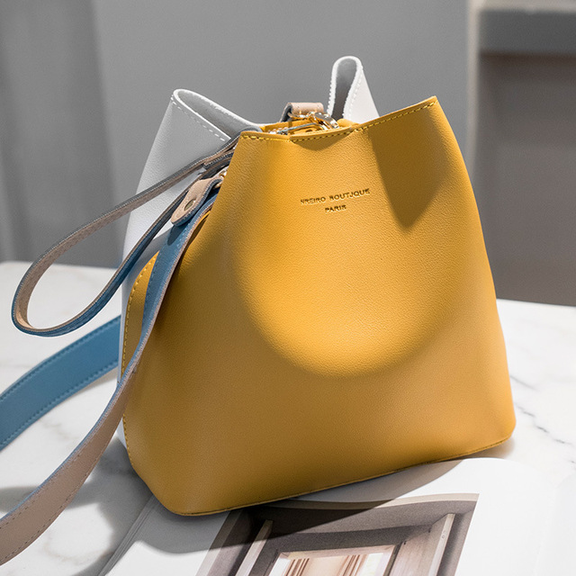 2019 New PU Leather Handbags Women Bucket Designer Shoulder Bags Female Fashion Larger Capacity Yellow Crossbody Messenger Bags