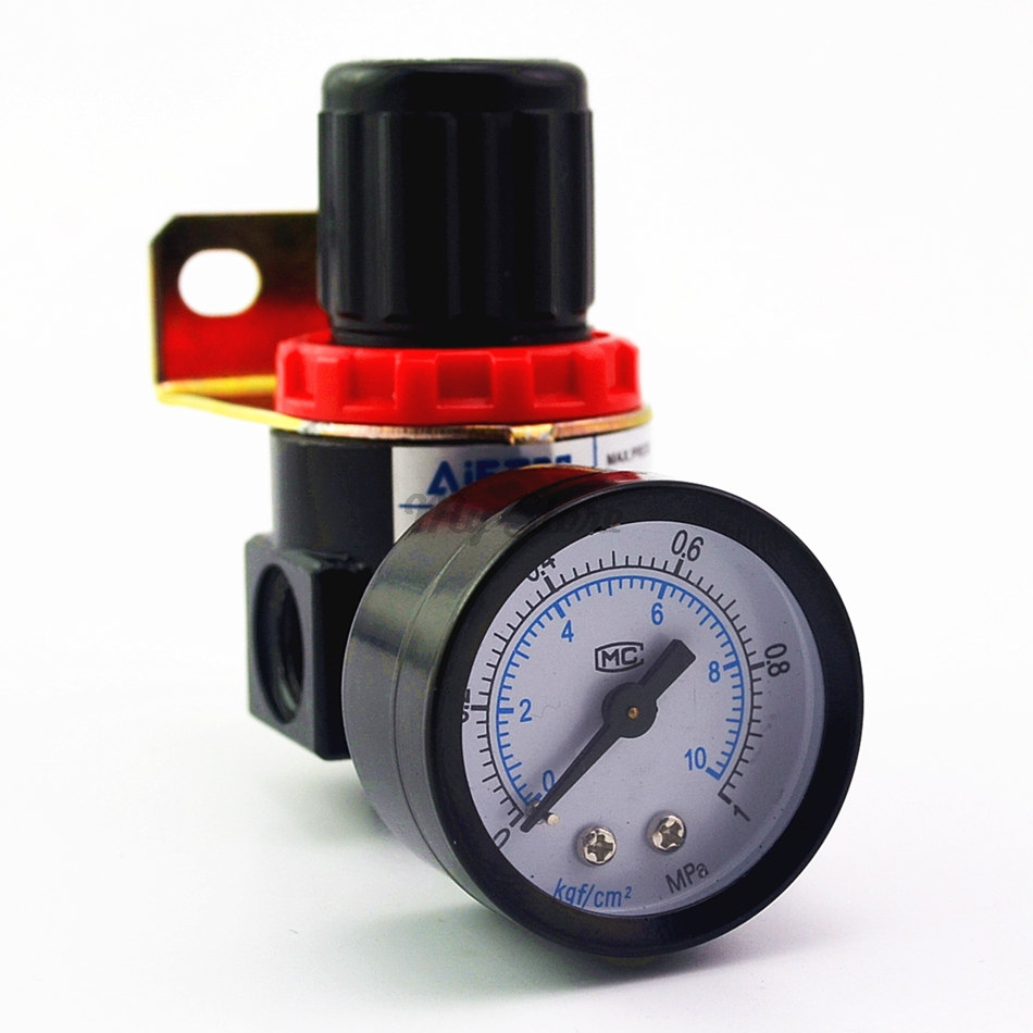AR2000 G1/4'' Air Control Compressor Pressure Relief Regulator Valve with Fitting compressor air control pressure gauge relief regulating regulator valve with 6mm hose fittings