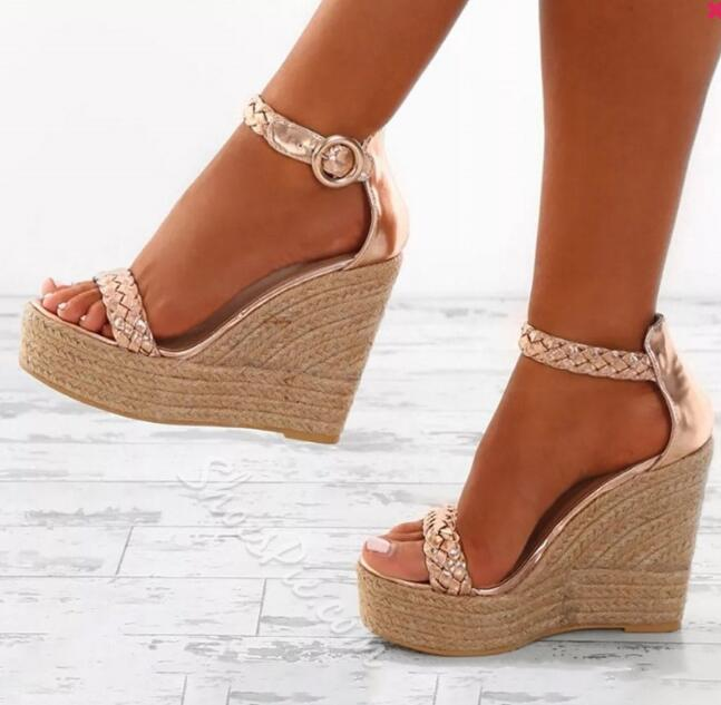 Ladies high heel wedge sandals with open toe and plaited straps