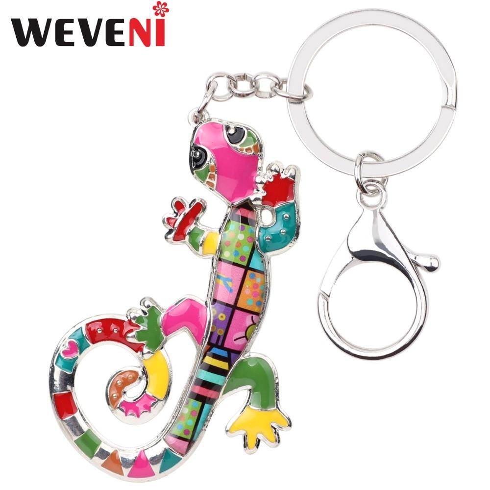 WEVENI Enamel Metal Lizard Gecko Key Chain Key Ring HandBag Charm Keychain Accessories New Fashion Animal Jewelry For Women
