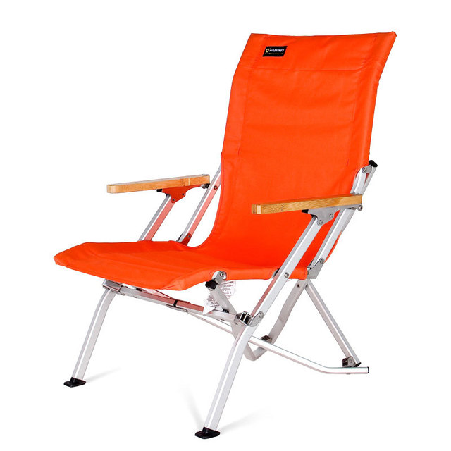 portable beach chair plastic stacking chairs canada camping high grade outdoor folding can bear 135kg orange black furniture fishing