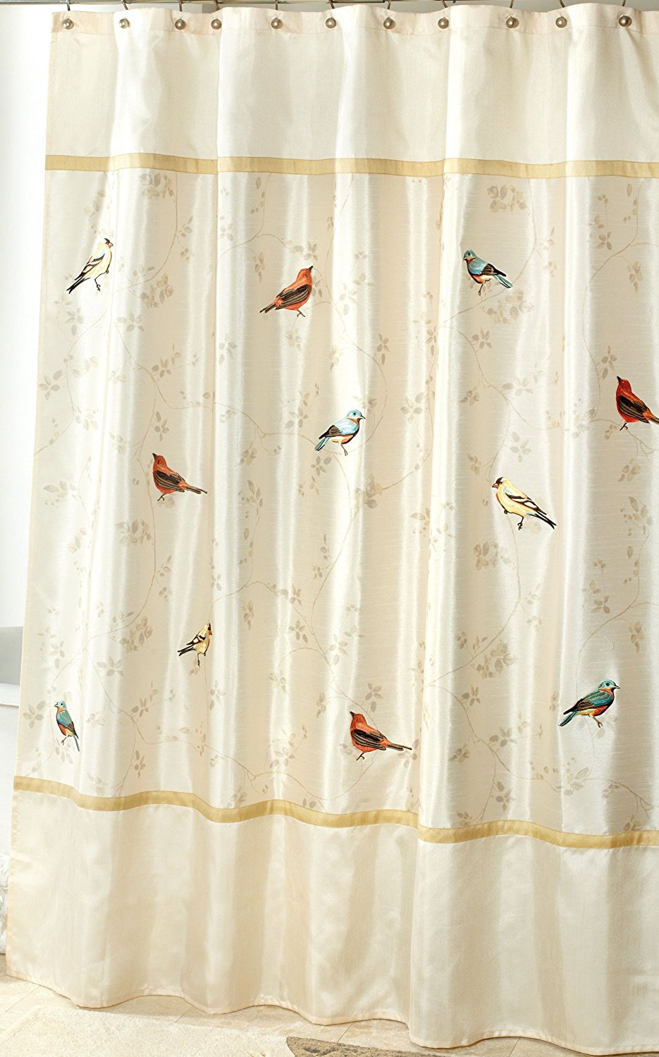 Us 17 65 Warm Tour Avanti Linens Gilded Birds Fashion Shower Curtain Polyester Curtain Hotel Bathroom With Hooks Ring72 X72 Inch In Shower