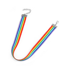 Gay and Lesbian Pride Lace Chocker Ribbon Collar with Pendant Jewelry