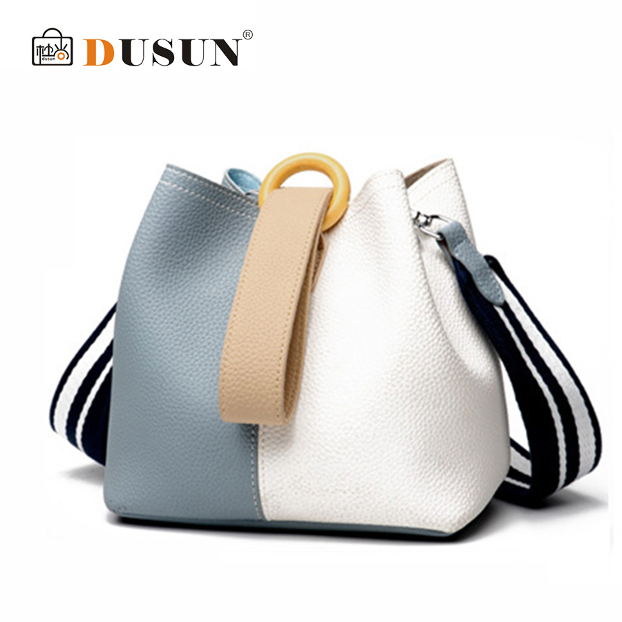 DUSUN Women Genuine Leather Bucket Bag Fashion Handbag Cow Leather Shoulder Bags Panelled Simple Messenger Bag Female Leisure bucket bags women genuine leather handbags female new wave wild messenger bag casual simple fashion leather shoulder bags