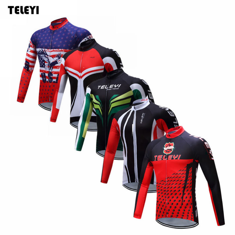 TELEYI Pro Team Riding Bike Ropa Ciclismo Mens Cycling Long Sleeve Jersey Tops Bicycle Jackets Clothing
