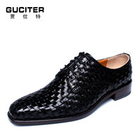 2015 New Advanced Customization Shoes Leather Dress Bottom Side Tide Business Woven Man Leather Shoes Goodyear