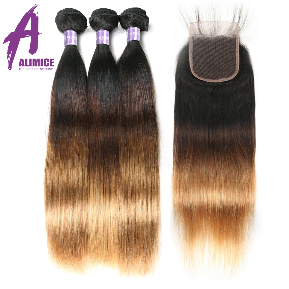 Alimice Blonde Human Hair Bundles With Closure 3 Bundles With Lace Closure 1B 4 27 Ombre