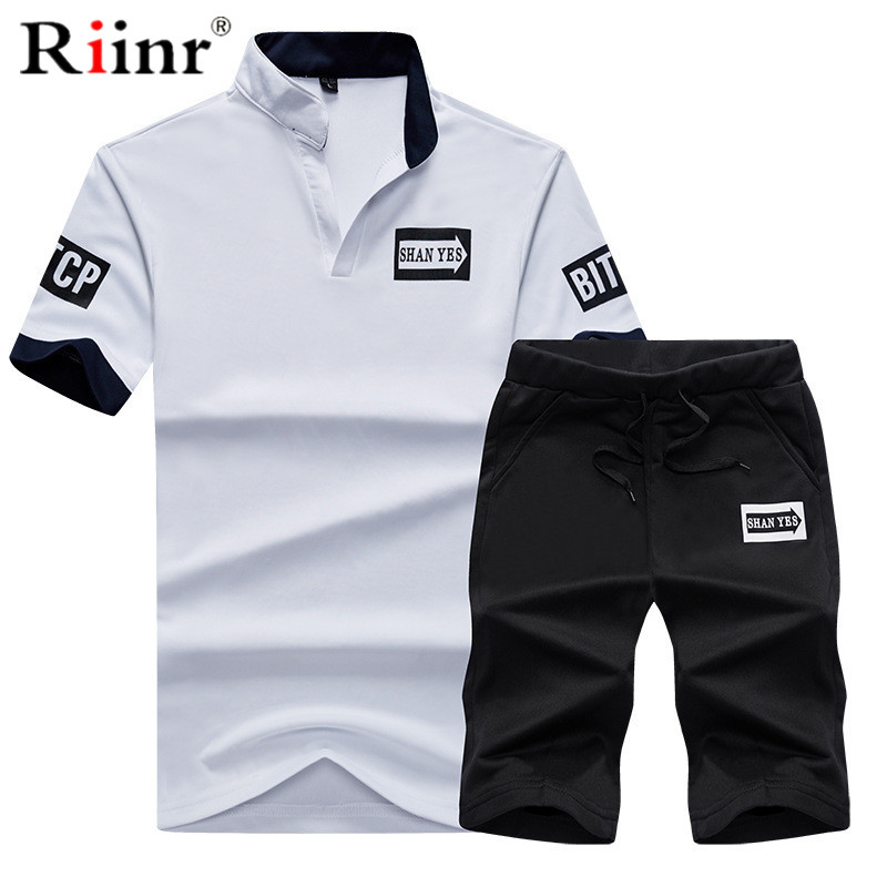 Riinr Men Tracksuit Summer Short Sleeve Tee Shirt+Shorts Set Casaul Slim Fit Sporting Suit Mens Masculino Two Pieces Sets Hombre