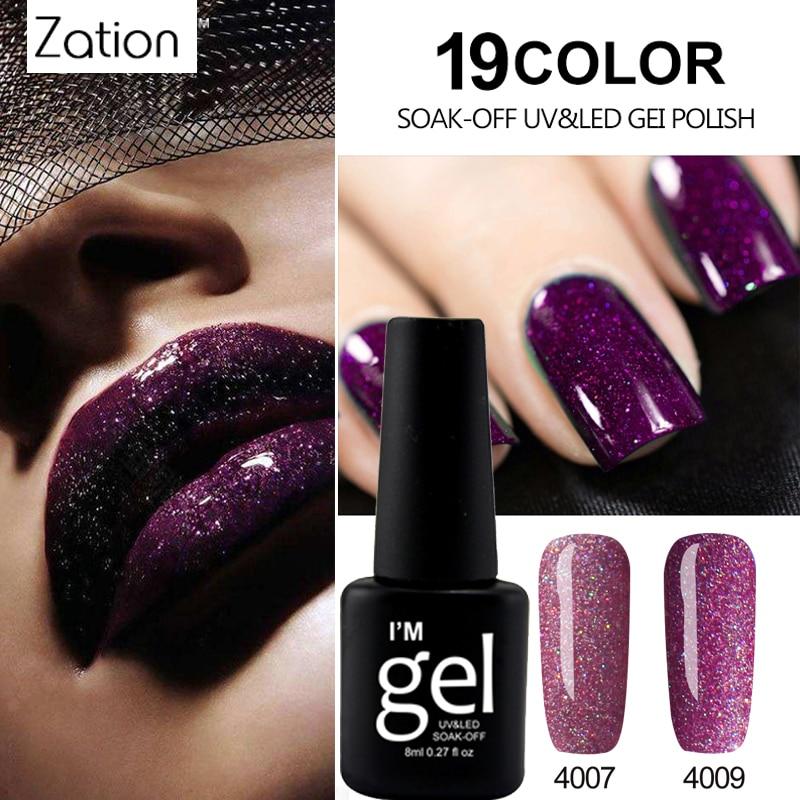 Zation Glitter Neon UV Gel Nail Polish Soak Off Hybrid Gel Vernis Semi Permanent UV Need Top Coat Enamel Gel Polish Nail Art