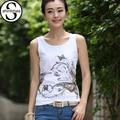 White T Shirt Animal Print T-Shirt Women Tops Summer 2017 Cotton Tshirt Sleeveless Plus Size Clothes Woman Haut Femme Camiseta