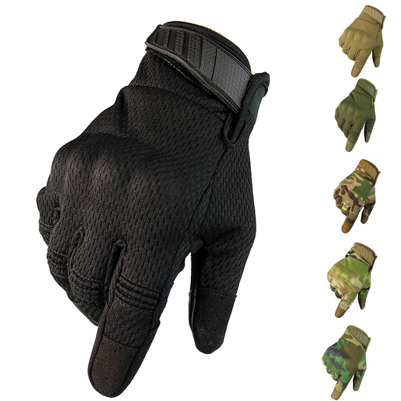 Men Breathable Full Finger Gloves Touch Screen Tactical Gloves Outdoor Sport Cycling Climbing Anti-skid Gloves