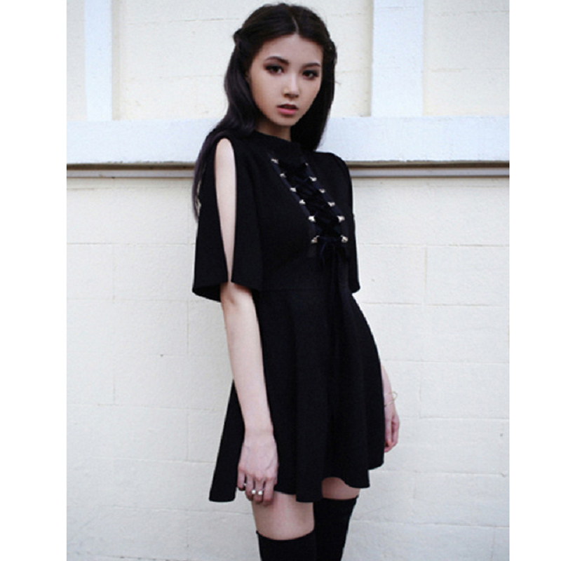 Ribbon Decorated Gothic Women Black Dress Japanese Harajuku Punk Cross Straps Tie Slim A Line Dress