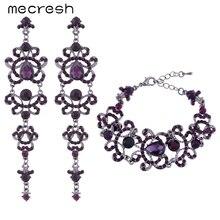 Mecresh Forma de Mariposa De Cristal de la Boda Joyería Nupcial Conjuntos Único Estilo Largo Púrpura Pendientes Pulseras Juegos EH168 + SL029