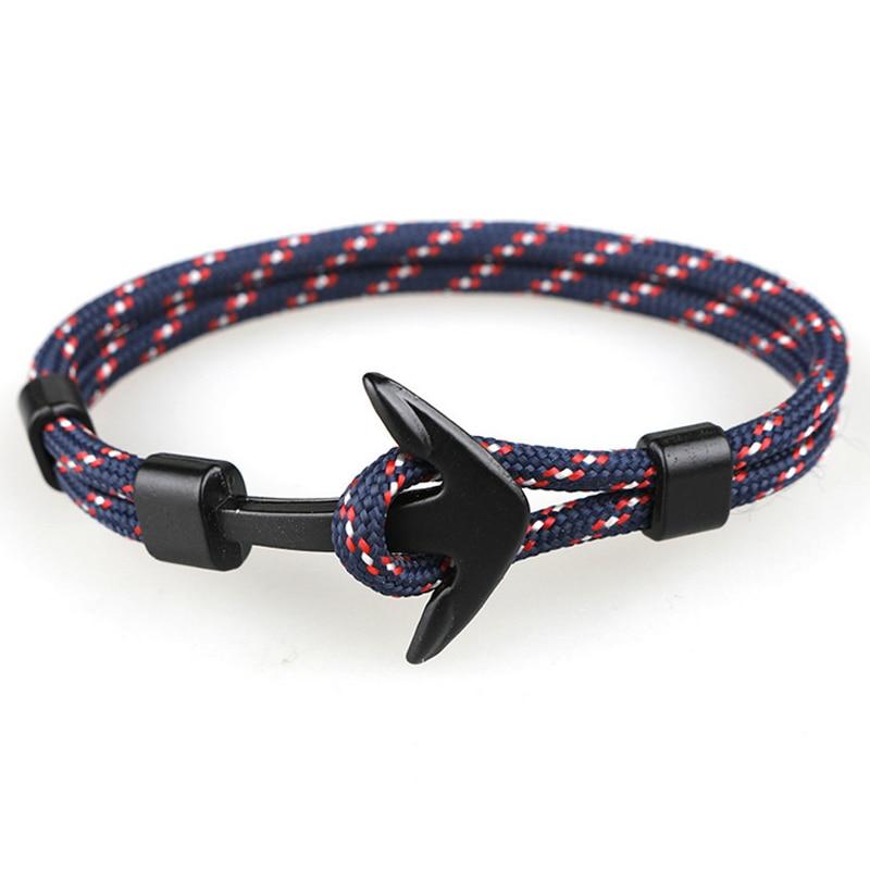 Fashion Black Anchor Bracelets Men Charm 550 Survival Rope Chain Paracord Bracelet Male Wrap Metal Sport Hooks