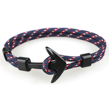 Fashion Black Anchor Bracelets Men Charm 550 Survival Rope C