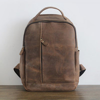 Retro Crazy Horse Cowhide Backpack Men's real Genuine Leather Backpacks male Back pack Women bag School Bags travel Shoulder Bag