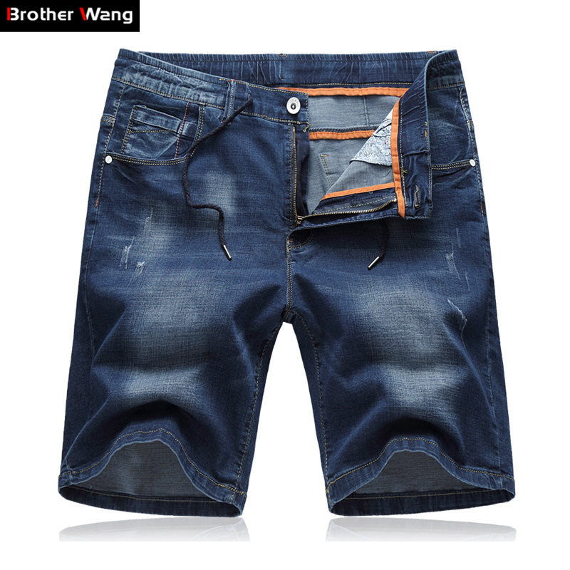 Denim Shorts Jeans Men's Straight Big-Size Casual Summer Brand New 5XL Stretch 6XL Thin