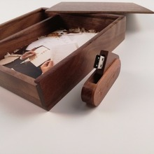 Walnut Wooden Photo Album Box with 3.0 memory flash swivel Pendrive (Free logo fee)