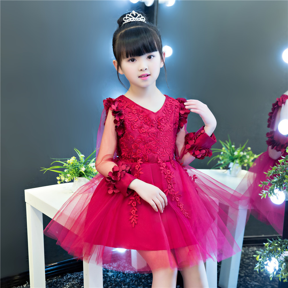 Wine Red Flower Girl Dresses for Wedding V-neck Long Sleeve Girls Party Gowns Ball Gown Summer Princess Dress Birthday Costume K girls party dresses elegant 2017 summer short sleeve flower long tail princess girl dress children kids wedding birthday dresses