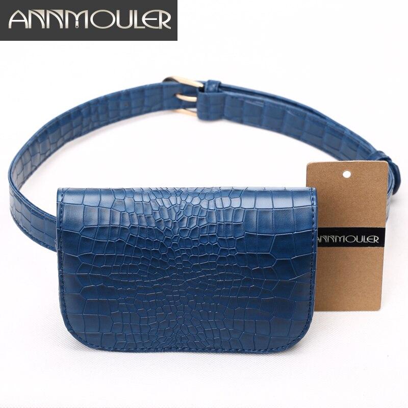 Annmouler Fashion Candy Color Waist Bag Alligator Pattern Women Waist Pack Black Adjustable Female Waist Belt Pu Funny Bags