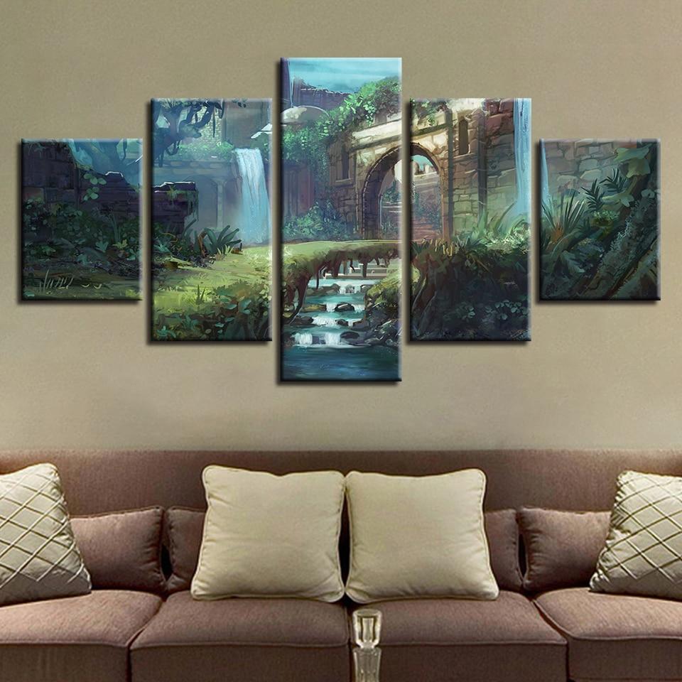 Canvas Hd Prints Posters Wall Art 5 Pieces Castle Path