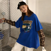 2 Colors Mihoshop Ulzzang Korean Korea Women Fashion Clothing Harajuku Gird Plaid Fake 2 Piece Long Sleeve T shirt Tops