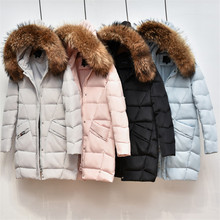 Autumn Winter Women Down Coat New Slim Warm Thick Hooded Duck Down Jacket Parka Large Faux Fur Collar Coats Ladies Outwear AB625