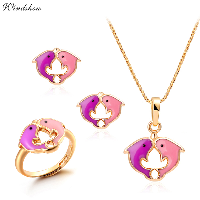 Yellow Gold Plated Pink Kissing Dolphin Jewelry Sets Pendant