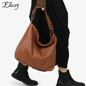 Ellacey Genuine Leather Tote Bag Large-Capacity First Layer Cowhide Fashion Lady Shoulder Bag Vintage Crossbody Bags For Women