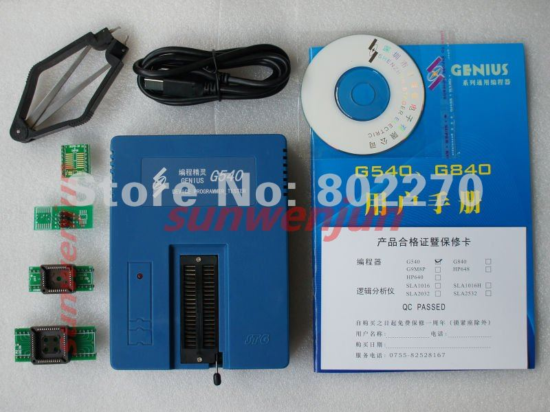 Genius G540 USB Universal Bios GAL Programmer EPROM FLASH 51 AVR PIC MCU SPI support 6000+chips 24/25/93 Cxx with 4 pcs adapters free shipping stager vspeed series vs4800 better than g540 tl866cs tl866 programmer support 20000 chips
