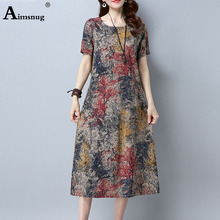 Plus size 4xl 5xl 2019 Boho Red Blue Dresses O-neck Short Sleeve Women Floral Print Summer autumn Casual Female Mid-calf dress