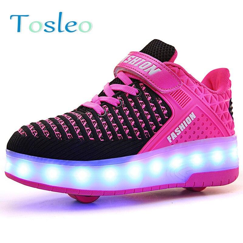Светодиодный свет кроссовки двойной два колеса для мальчиков и девочек роликовых коньках Повседневное обуви ролика девушка Zapatillas Zapatos Con ...