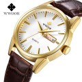 High Quality Casual Auto Date Quartz Watch Genuine Leather Strap Mens Business Wristwatches