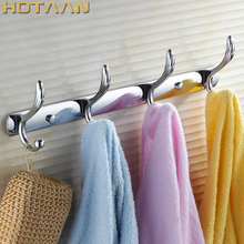 """Free shipping,Multi function Bathroom 15"""" wall mounted hook door 4 Hook Rack Hanger Hats clothes towel Chrome finish,YT 3001 4"""