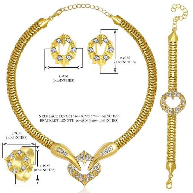 Gold Plated Imitated Crystal 4 Pieces Jewelry Set