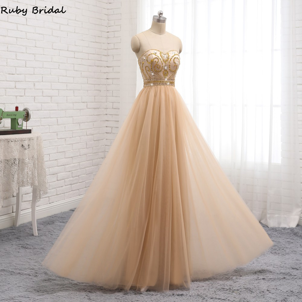 Ruby Bridal 2019 New Vestido De Noite Long A line Champagne Evening Dresses Sexy Strapless Tulle Beaded Party Gown PW931 in Evening Dresses from Weddings Events