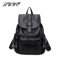 Luyo Soft Sheepskin Genuine Leather Women Fashion Feminine Backpack Youth School Bags For Teenage Girls Teenagers