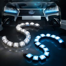 Taitian 2Pcs COB LED Strip light for headlight 12V car bar drl led daytime running lights lamp for mazda audi honda bmw ford Kia