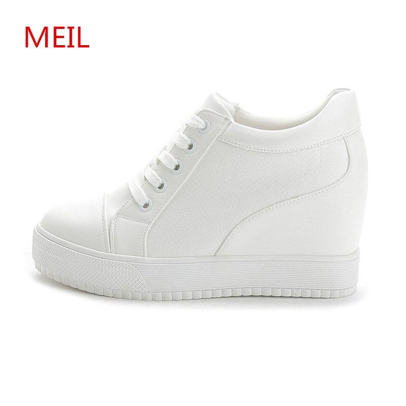 Black White Hidden Wedge Heels sneakers Casual Shoes Woman high Platform Shoes Women