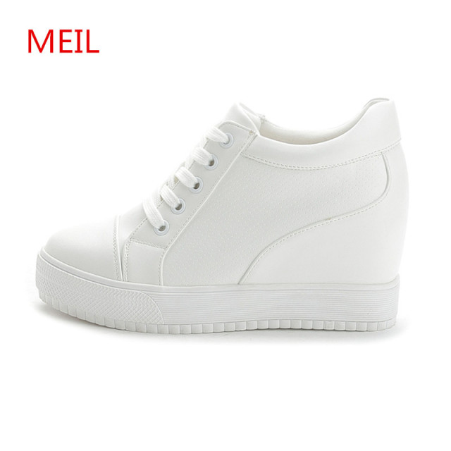 36f38865f7 Black White Hidden Wedge Heels sneakers Casual Shoes Woman high Platform  Shoes Women's High heels wedges Shoes For Women