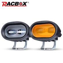 RACBOX 6D soczewka bursztynowa listwa świetlna LED robocza jazda samochodem mgła światło punktowe Offroad lampa LED do pracy ciężarówka SUV ATV Led modernizacja samochodu stylizacja