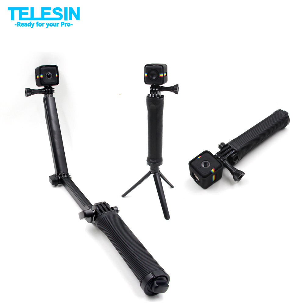 TELESIN Multiple Function 3 in 1 Design Grip Arm Tripod 3 Way Monopod Grip Stick with